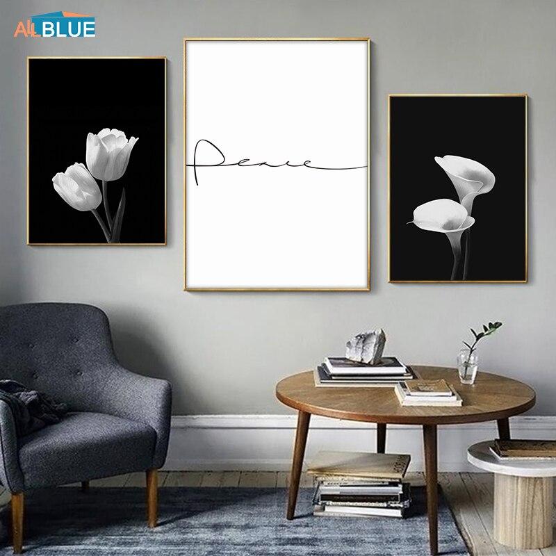 Tulipa arte da parede impressão em tela poster preto e branco flor pintura para sala de estar parede citação decoração imagens decoração moderna