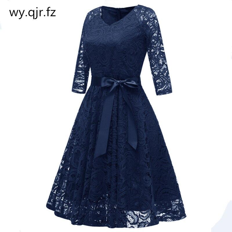 CD-1592 # dark الأزرق الخامس الرقبة القوس الدانتيل قصيرة فساتين وصيفة الشرف الزفاف فستان حفلة موسيقية فستان زفاف رخيصة بالجملة الملابس النسائية