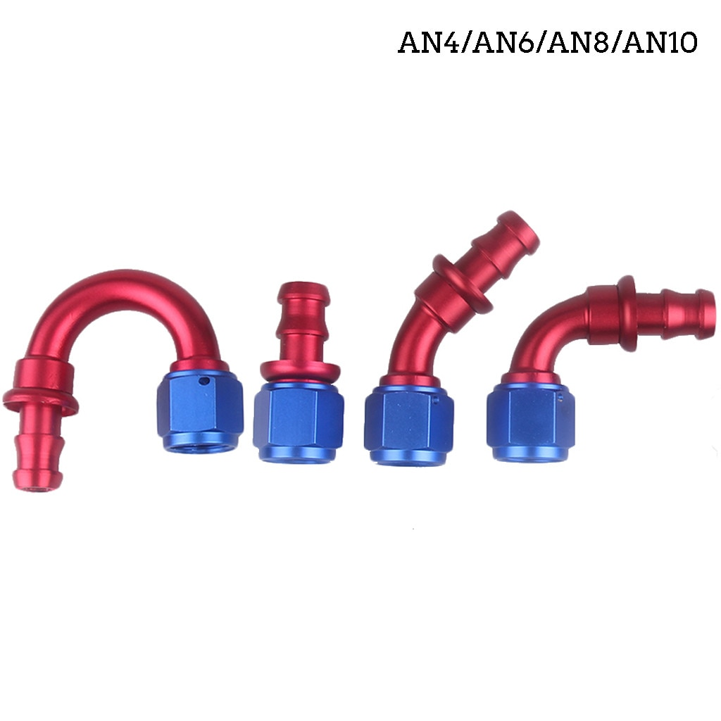 AN4/AN6/AN8/AN10 conectores de extremo de manguera Push-On rojo de aluminio 0 45 90 180 grados una pieza CNC-mecanizado T6061 billet 8Z