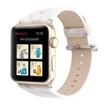 Bracelet en cuir imprimé en marbre pour apple watch series 4 3 2 bracelet de remplacement en cuir pu pour apple iwatch 44mm 42mm 40mm 38mm