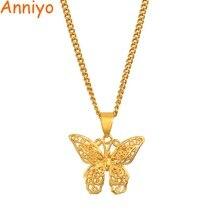 Anniyo papillon breloques pendentif chaîne colliers pour femmes filles couleur or bijoux PNG cadeaux #006209