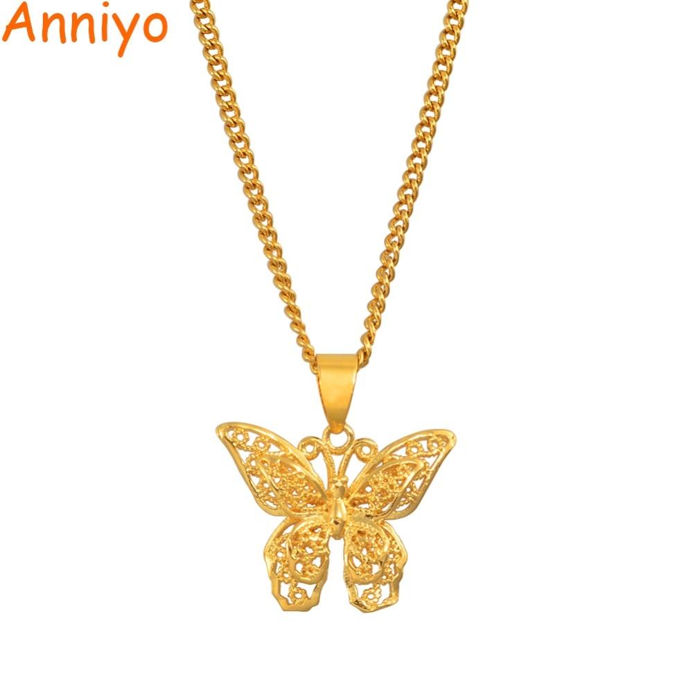 Anniyo borboleta encantos pingente de corrente colares para mulheres meninas cor de ouro jóias png presentes #006209