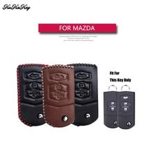 Genuine Leather Flip Folding Car Key Case Cover For Mazda 2 3 5 6 CX5 CX-5 M2 M3 M5 M6 Key Holder Bag Shell For Mazda 2 3 5 6