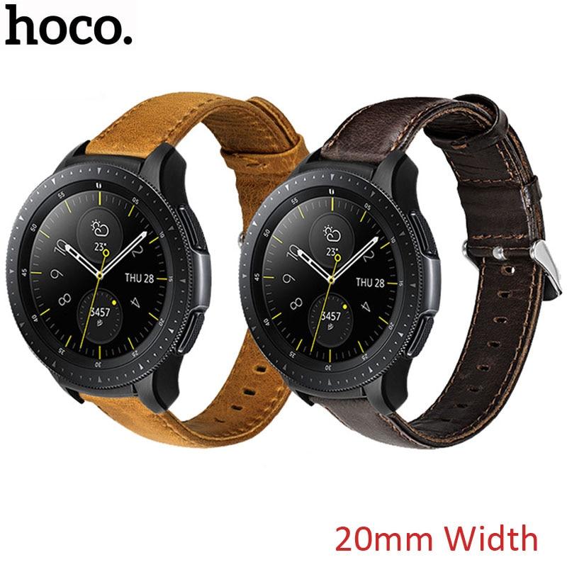 Correa de cuero genuino marrón HOCO de 20mm para Samsung S2, Correa deportiva clásica para Galaxy Watch, correa de cuero de 42mm