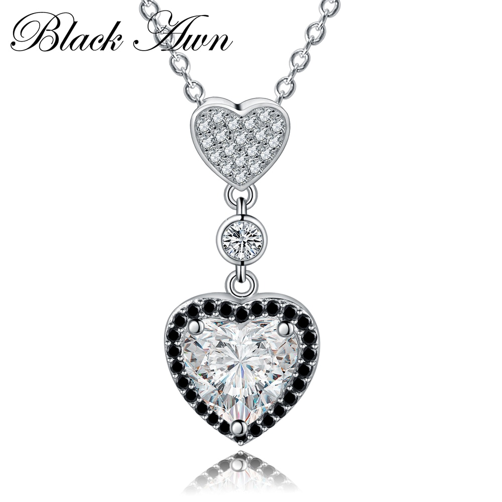 Serce naszyjniki wisiorki 925 srebro Fine Jewelry Trendy zaręczynowe naszyjniki dla kobiet wisiorki ślubne P156