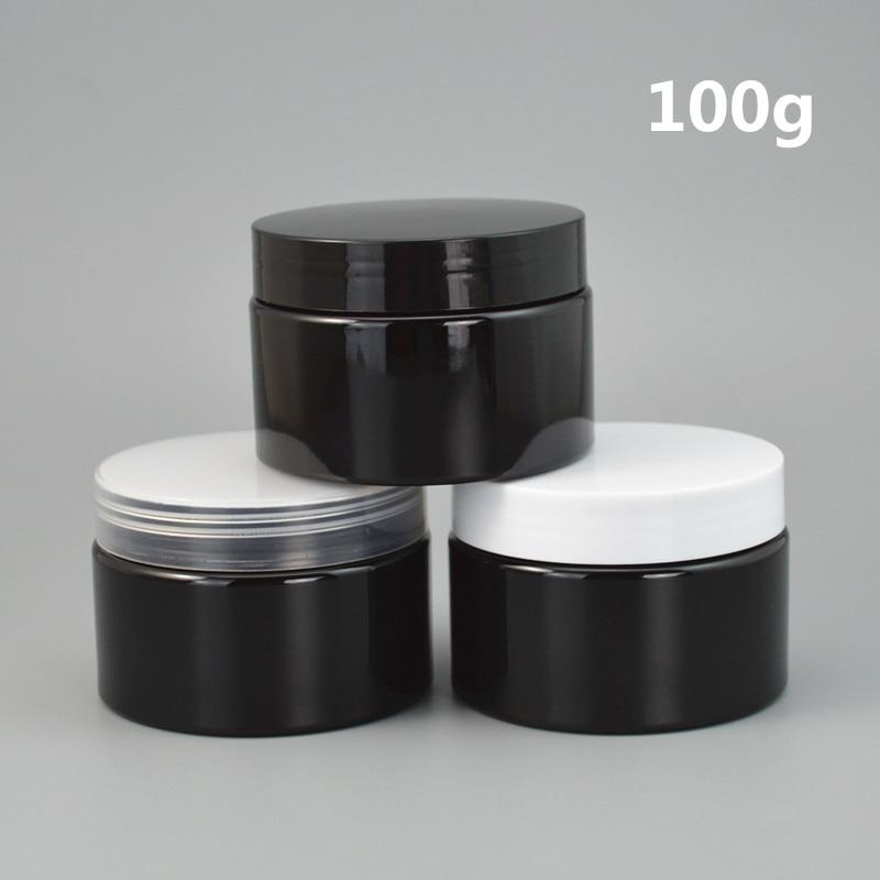 Pot de crème en plastique noir, conteneur vide en plastique avec couvercles, logo personnalisé imprimable, 100 pièces/lot de 30g, 50g, 100g, 3.5g