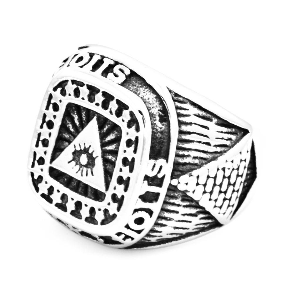 FANSSTEEL Acero inoxidable joyería pirámide egipcio estrellas Dios ojo todo ver anillo de ojo FSR20W74