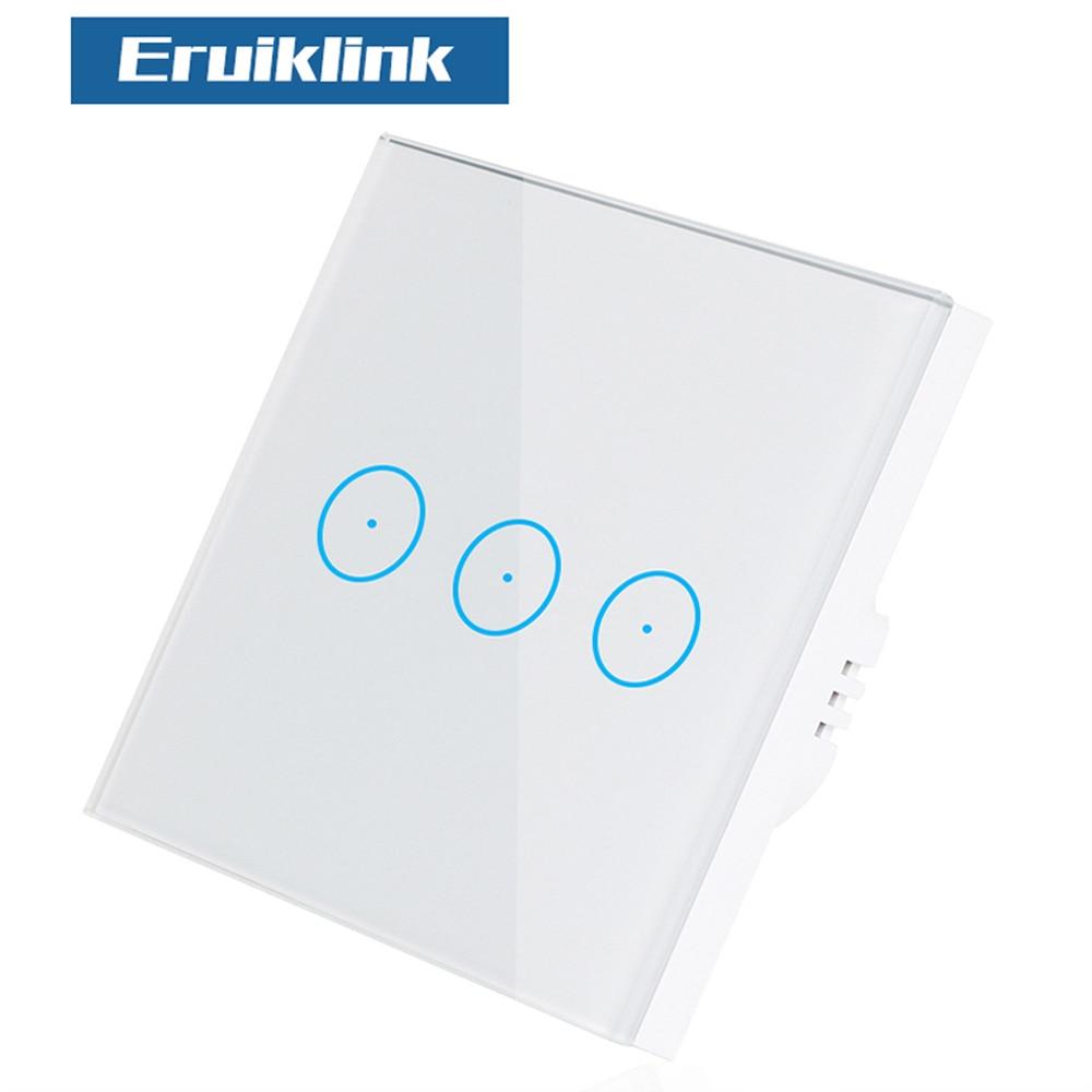Купить с кэшбэком Eruiklink EU Remote Switch Wifi Control Wireless Remote Wall Light Touch Switch Work With Sonoff RF Bridge Smart Home