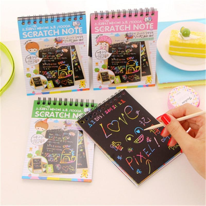 JB28 Mini libro creativo de grafiti colorido de bobina DIY para niño y niña con dibujo de bolígrafo en blanco un exquisito libro de dibujo mágico