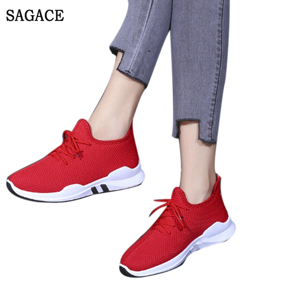 SAGACE Women Comfy Fitness Gym Sports Shoes Vulcanized Sneakers Mesh Breathable Shoes Casual Ladies Lace Up Single Shoes