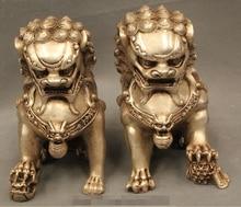 "6 ""feng shui chino plata Folk Animal Fu Foo perro par de estatuas de León"