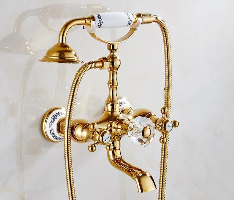 الأوروبية الحائط الهاتف مقبض خلاط الحمام الأجهزة مجموعة صنبور حوض استحمام الذهب النحاس كريستال أدوات دش مجموعة