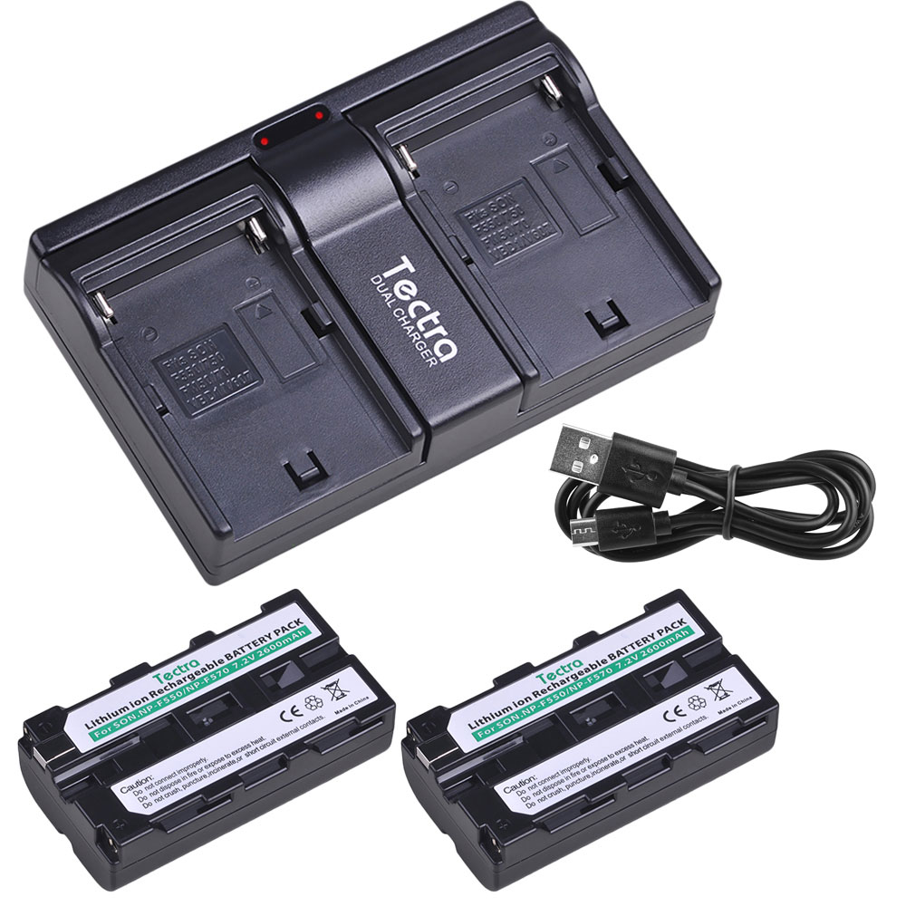 2 uds 2600mAh NP-F550 NP-F570 baterías + cargador Dual USB para Sony CCD-SC55 CCD-TRV81 DCR-TRV210 MVC-FD81 NPF550 NPF570 batería