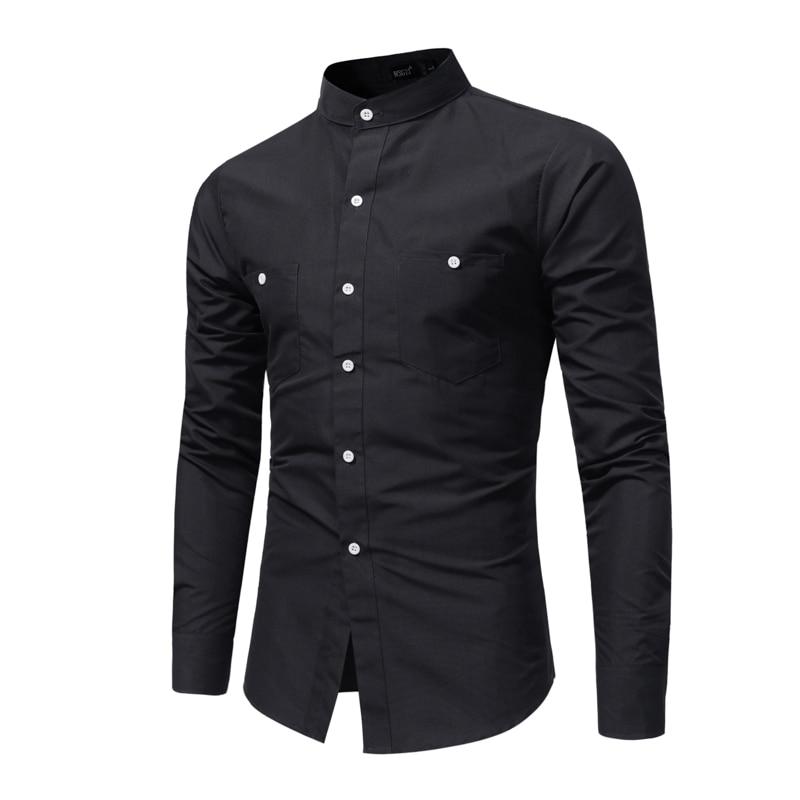 Brand 2018 Fashion Male Shirt Long-Sleeves Tops Stand Collar Young Solid Color Shirt Mens Dress Shirts Slim Men Shirt XXXL
