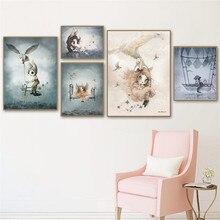 Affiche adorable pour décor de maison   Toile dart nordique, peinture murale, dessin animé fille, Animal abstrait, impression daquarelle, tableau de chambre denfant