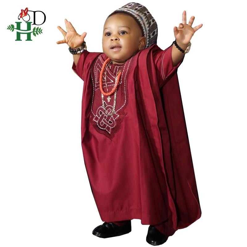H & D No Cap ملابس الأطفال الأفريقية Dashiki قميص بانت 3 قطع مجموعة ابن الصبي الدعاوى 2021 جنوب أفريقيا الاطفال الملابس الحمراء TZ3062