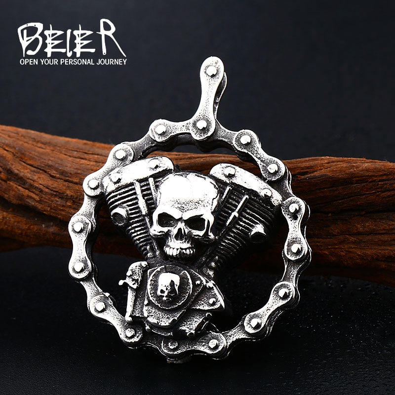 Мужская винтажная подвеска в виде черепа Beier, из нержавеющей стали, на цепочке для мотоцикла, подарок на LLBP8-348R