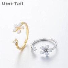 Uini-tail 2018 nuevo 925 plata esterlina flor de cerezo Rosa anillo de apertura moda coreana tide flow alta joyería de calidad GN353
