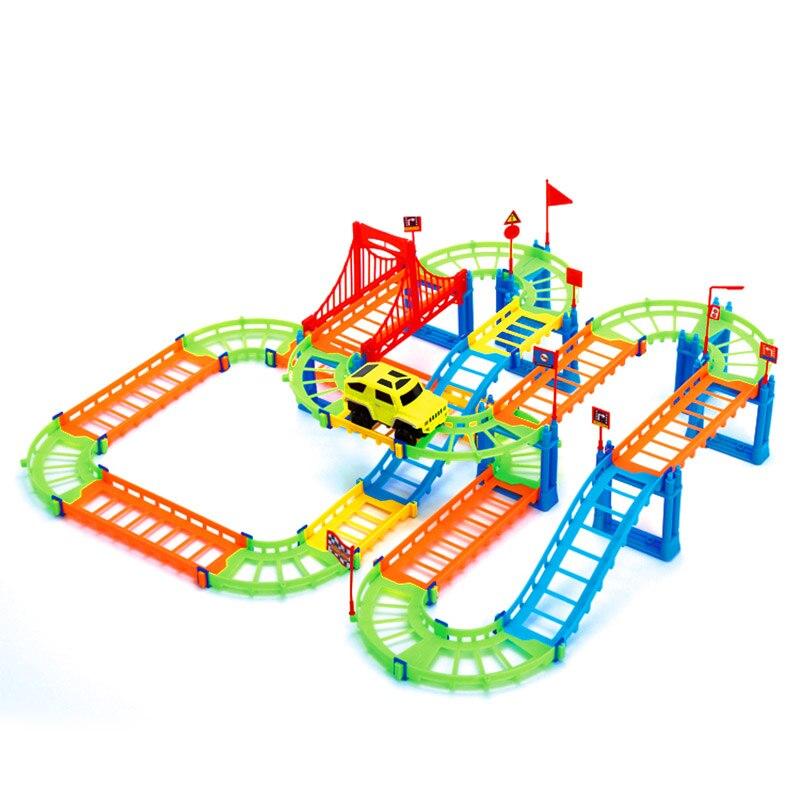 74 Uds 3D pista espiral de dos capas colorido juguete de Montaña Rusa educativo coche de carril eléctrico para niños regalo 88 NSV775