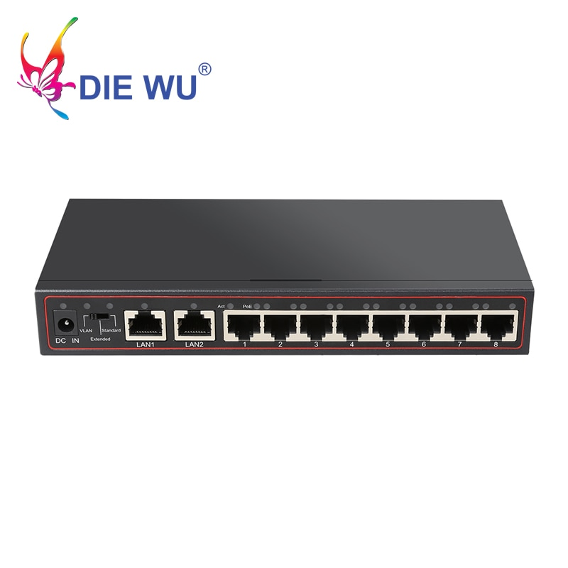portas poe switch 10 8 52 v switch de rede ethernet switch poe injector para camera