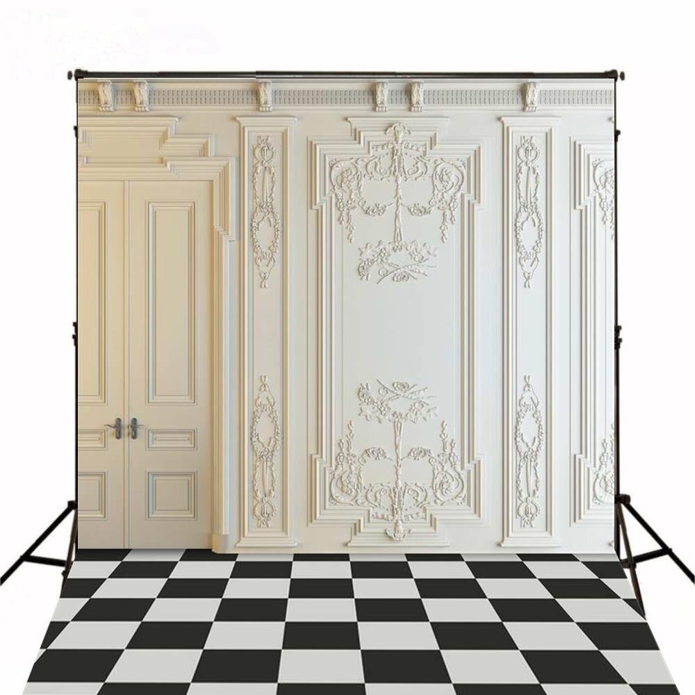Branco Moldura Da Porta do Quarto Do Vintage Xadrez poliéster ou de Vinil pano de fundo Alta qualidade de impressão Computador pano de fundo do casamento