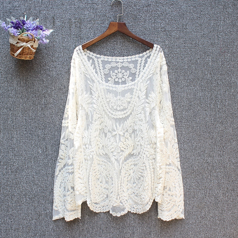 Plus size tops ladies spring summer sexy transparent beach cover up hollow out crochet lace shirt women long sleeve lace blouses