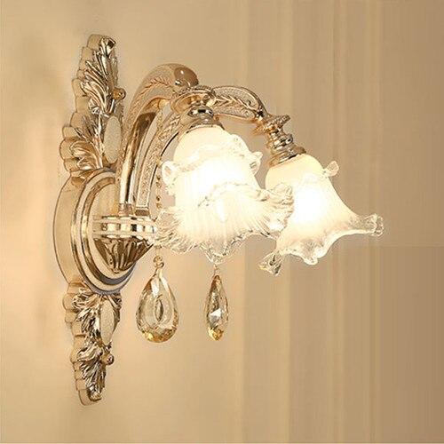 Lámpara de pared de salón dorada, luz Led E14 para hotel, candelabro de pared con espejo de Cristal grande, luz led de pared para dormitorio y baño