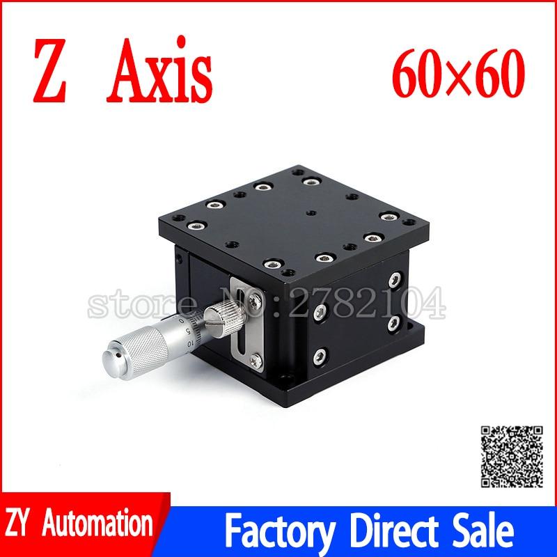 Eixo z 60*60mm deslocamento elevador fase manual de ajuste fino plataforma dupla cruz ferroviário mesa deslizante LZ60-2 Z60-2