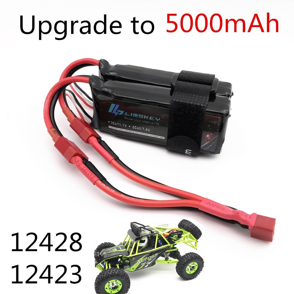 Limskey Power Upgrade to 7.4V 5000MAH (2pcs*2500mah 7.4V ) 40C 2S lipo battery T plug for Wltoys 124