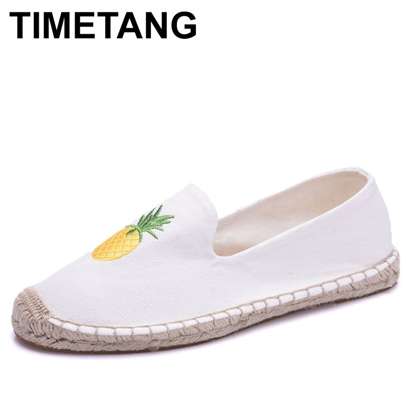 TIMETANG Alpargatas Zapatos planos de mujer Primavera Verano damas mocasines bordados de lona de lino Fishman zapatos planos niñas Alpargata