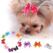 10 Pcs Tartan Ontwerp Hond Haar Boog Hond Strikken Met Parel Leuke Rubberen Band Haarspeld Grooming Accessoires