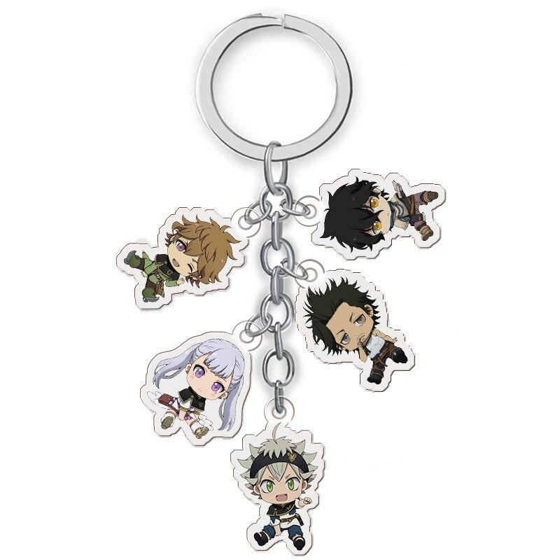Anime Schwarz Clover Keychain Cartoon Abbildung Asta Yuno Noell Silva Yami Magna Acryl Pendent Schlüsselring