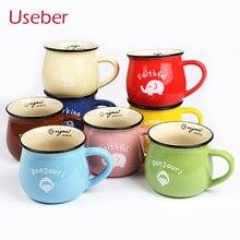 High Quality Cute Mug Retro Creative Cartoon Enamel Cup Belly Milk Breakfast  Coffee  Tea  Lovely Ceramic