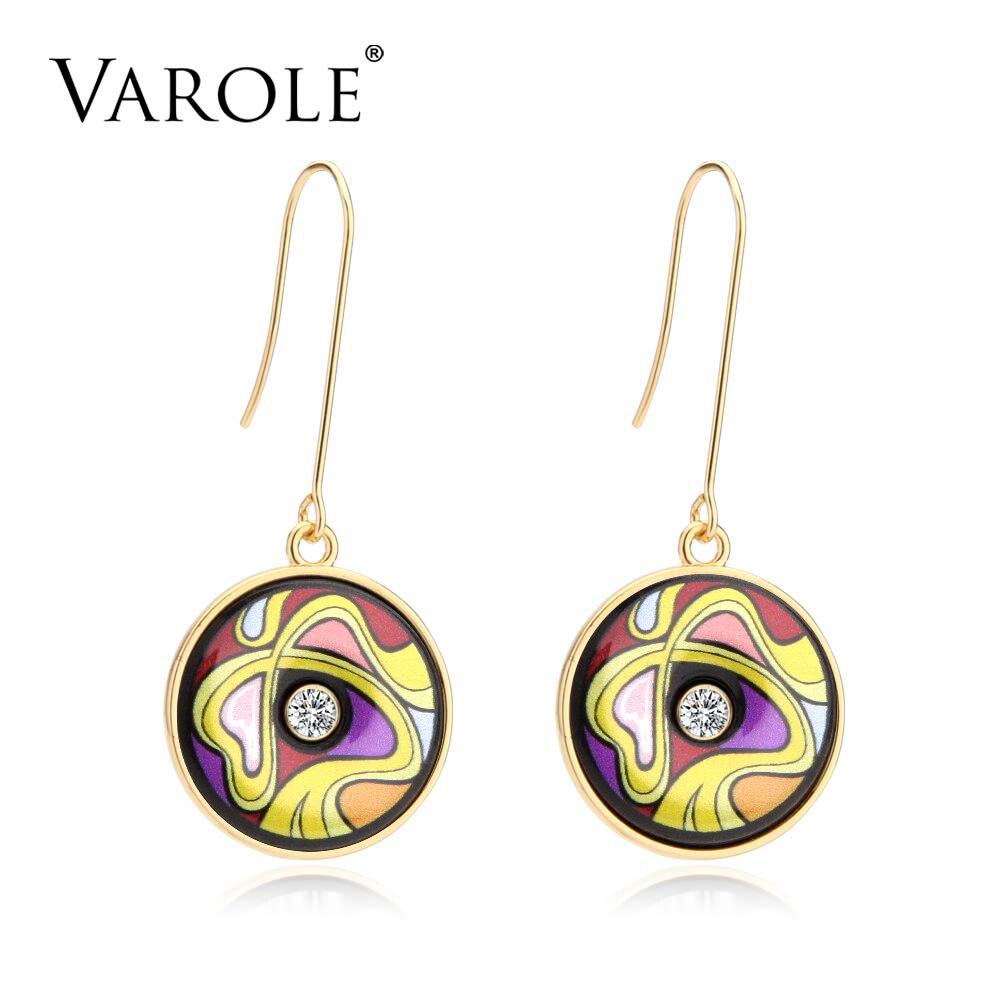VAROLE Classic Vintage Indian Drop Earring for Women Painted Feminino Bohemia Ethnic Style Geometric Earrings for Women