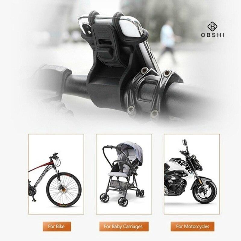 Universal bicicleta de la motocicleta del soporte del teléfono móvil de silicona ajustable tirar botón Anti-choque para IPhone Samsung Huawei Xiaomi