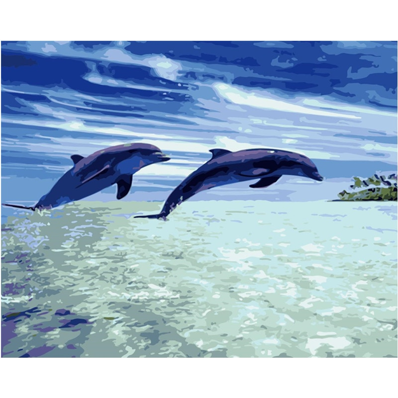 Pintura por números DIY Dropshipping 40x50 50x65cm delfín show en el Animal en el océano lienzo decoración de la boda regalo de arte