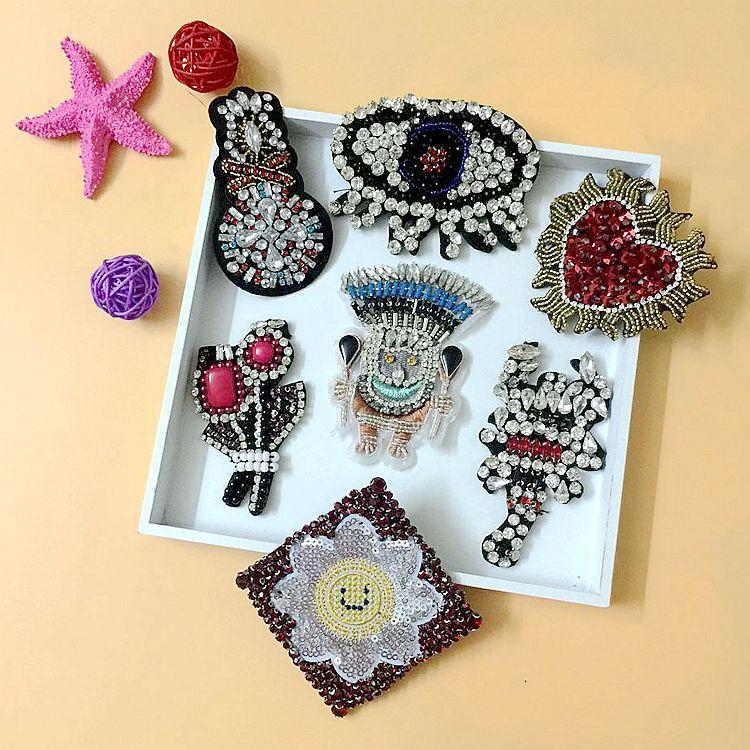 Parches de flores de corazón con cuentas DIY apliques de diamantes de imitación indios coser en ropa de pedrería calcetines decoración para zapatos y bolsos parche