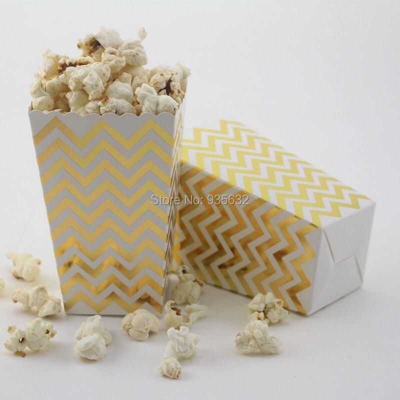 24 pçs/lote (2 pacotes) suprimentos de decoração do casamento folha ouro & prata mini pipoca caixas chevron dot listrado sacos de saque de papel