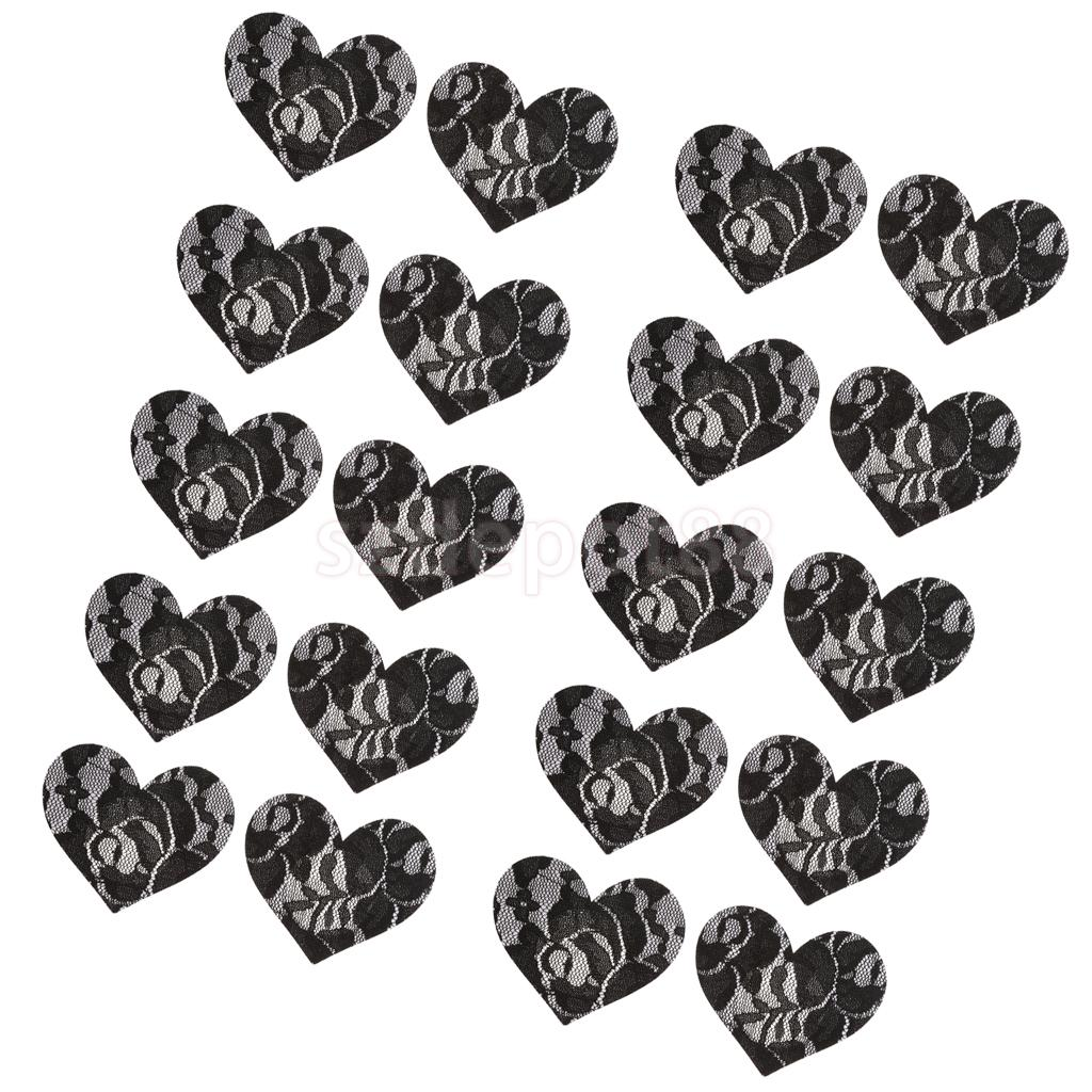 10Pairs Schwarz Spitze Herz Nipple Covers Pasties Klebstoff Aufkleber Unsichtbaren Bh Brust Blütenblätter
