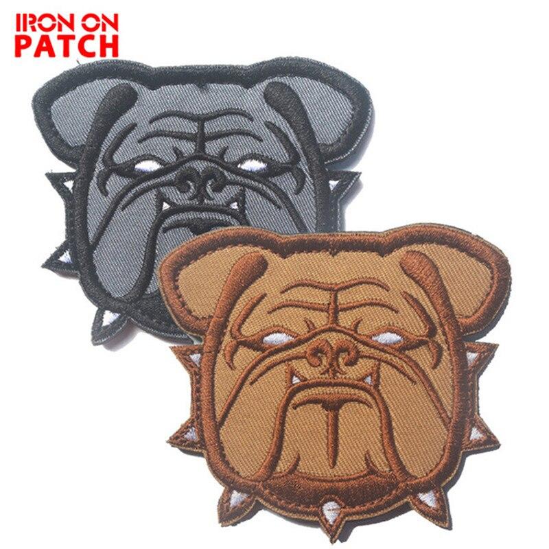 Parches tácticos de Bulldog, brazalete mágico, parche militar grande, insignias de gancho, apliques para mascotas, SOUVENIR artesanal, perro Toro loco