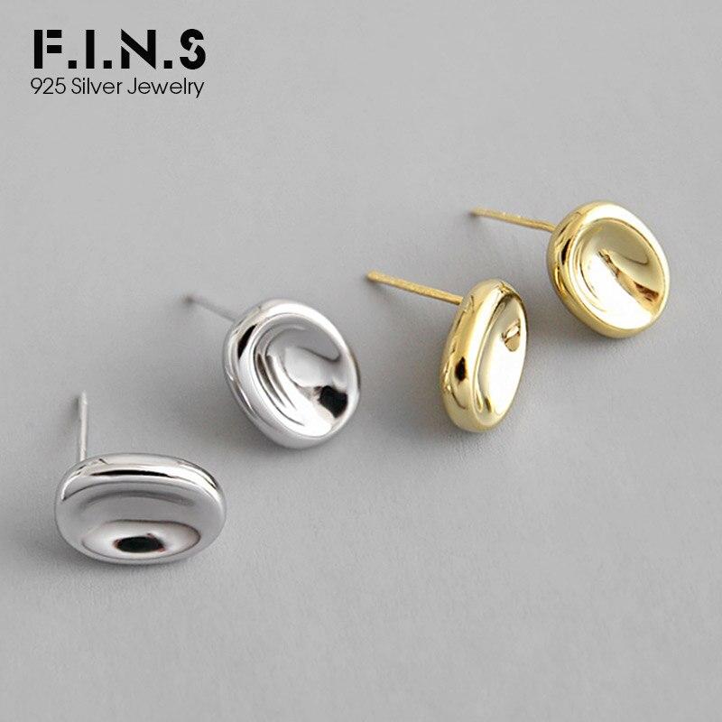 Pendientes F.I.N.S clásicos de plata de ley S925, pendientes ovales con pasador pequeño liso, pendientes dorados, bisutería geométrica para mujer