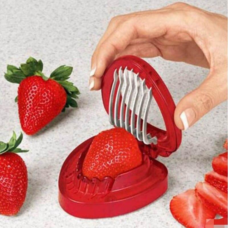Aardbei Slicer Fruit Cutter Carving Tool Salade Cutter Rvs Aardbei Cutter Fruit Slicer Draagbare Keuken Gadgets