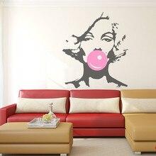 Marilyn Monroe Bubble Gum Beauty Hair Salon Wall Decal Sticker Woman Girl  Vinyl Interior Home Decor Mural DIY Decoration YO-131