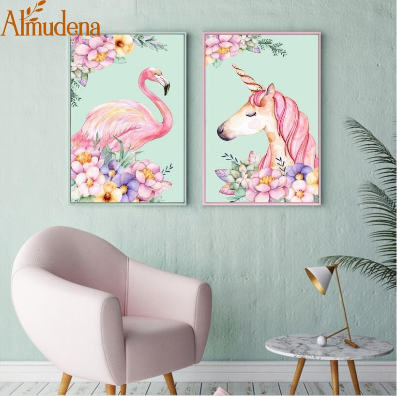 ALMUDENA nórdico original lindo unicornio Rosa Simple flamenco pintura sin marco lienzo de dibujos animados póster decoración de la habitación de los niños