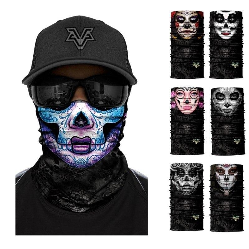 Color Sugar Skull Women Headband Magic Scarf Cycling Hiking Headwear Neck Gaiter Bandanas Seamless Balaclava