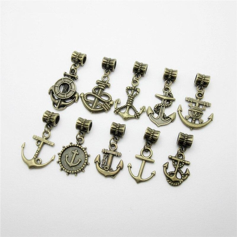 Mix 20pcs bronze anchor Pingente encanto Europeu beads fit para o estilo pandora Pulseiras Colar DIY Metal Fazer Jóias