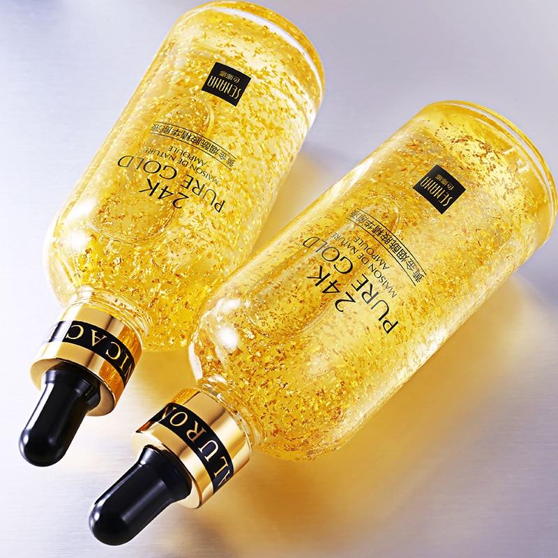24K Gold Hyaluronic Acid Essence Replenishment Moisturize Shrink Pore Brighten Nicotinamide Skin Care Lift Firming Essence