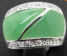 Estilo Vintage 24X16mm único verde gema 925 cz anillo anillos de joyería tamaño 8,9,10,11 # RINGE hombre Zirconia cristal fshipping