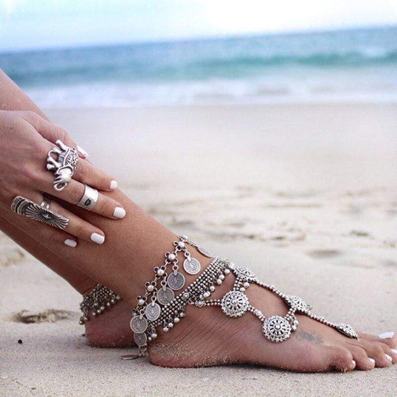 Nova moda 2017 tornozelo pulseira de casamento moeda descalço sandálias praia pé jóias sexy torta perna corrente feminina boho moeda anklet