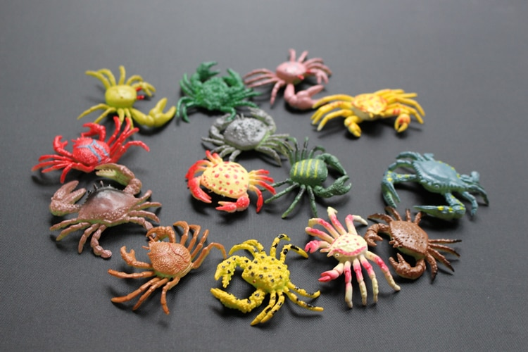 Figura de pvc pequeña simulación de cangrejo marino modelo de cangrejo rey cangrejo matar cangrejo 12 unids/set